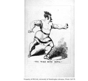 Caricature of Edwin Forrest in the role of Spartacus. Courtesy of the University of Washington Libraries.