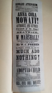 Playbill for May 23, 1854 performance of Anna Cora Mowatt at the Howard Athenaeum, during her farewell tour. Courtesy of the Massachusetts Historical Society.